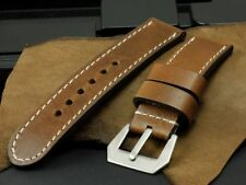 Dark Wooden Brown Calf Cow Leather 24mm Panerai Watch Strap Band+GPF Tang Buckle
