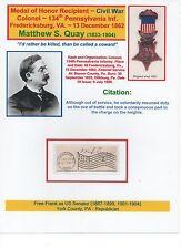 Medal of Honor Recipient~ Civil War ~ Matthew S. Quay ~ RARE Free-Frank as Senat