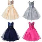 New Fashion Girls' Flower Sequins Princess Dress Layered Ruffle Ball Gown Dress