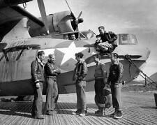 WWII B&W Photo US Navy PBY Crew with Catalina  World War Two WW2 / 1289