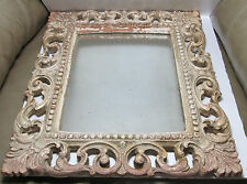 Vintage Cottage Shabby Chic Ornate Syroco Rococo Wood Wall Hanging Mirror