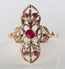 SUBLIME 9CT ROSE GOLD VICTORIAN INS RUBY & DIAMOND LONG RING