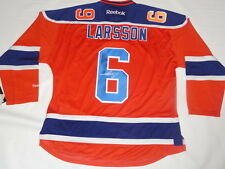 ADAM LARSSON SIGNED EDMONTON OILERS #6 ALTERNATE JERSEY LICENSED AUTOGRAPHED