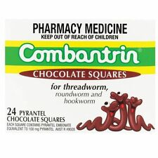 PROMOTION PRICE-COMBANTRIN CHOCOLATE SQUARES 24 WORMING TREATMENT DEWORM