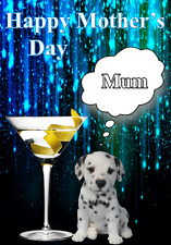 Dalmatian Dog Puppy Mother's Day Card chmd100 A5 Personalised Greetings