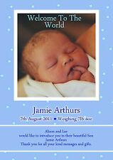 40 Personalised its a baby Boy / Girl announcement Cards. Gift thank you cards