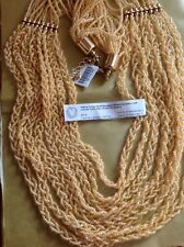 Peach Colour Seed Beaded 8 Strand Necklace With Lobster Lock In Gold Tone