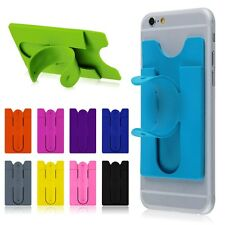 Universal Silicone Stick Credit Card Holder Slot Stand Shell Case For All Phones