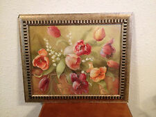 Vintage Framed Print of Flowers After A Still Life Painting