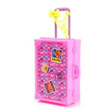 New 3D Cute Kid Girl Travel Suitcase Luggage Box for Barbie Doll Cloth Dollhouse