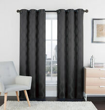 """Set of Two (2) Black and Gray Window Curtain Panels: 76"""" x 84"""", Grommets, IKAT"""