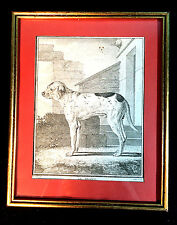"ANTIQUE FRENCH COPPER ENGRAVING OF A DOG LE BRAQUE GILT FRAMED 10.5""X8.5"""