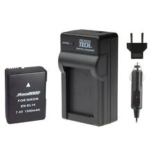 PT EN-EL14 Battery + Charger Kit for Nikon D5100, D5200, D5300, D5500 SLR