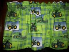 John Deere Farm Tractor Lime Green Plaid fabric window topper curtain Valance