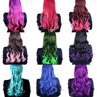Colorful Women Full Head Clip in Wigs Synthetic Long Curly Wigs Party Costume