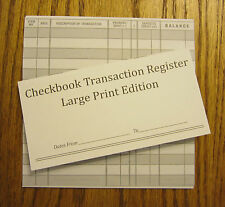 8 EASY TO READ CHECKBOOK TRANSACTION REGISTER LARGE PRINT CHECK BOOK REGISTERS