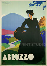 ABRUZZO ITALY, 1930 Vintage Italian Travel Poster advertising Canvas Print 20x28