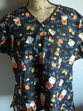 Hello Kitty Ladies Halloween Scrub Top Size XL Black Pumpkins Cat Boo