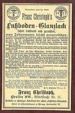Franz Christoph, Fußboden-Glanzlack, Berlin, 1891