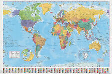 GIANT MAP OF THE WORLD POSTER WALL BRAND NEW WITH COUNTRY FLAGS GREAT GIFT