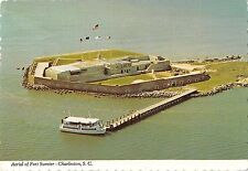 B100919 aerial of fort sumter charleston ship bateaux    usa
