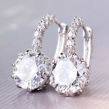 Unique 18k white gold filled white swarovski crystal charming hoop earring