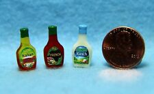 Dollhouse Miniature Salad Dressing Bottle Set, Ranch, French, Italian ~ HR54276