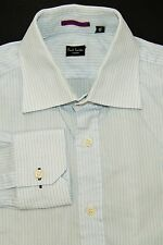 Paul Smith London Men's 15 38 Button Front Dress Shirt Light Blue Pinstriped