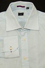 Paul Smith London Men's Button Front Dress Shirt Light Blue Pinstriped Sz 15 38