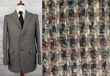 Vtg 70s / 80s Brown / Grey Leather Button Harris Tweed Jacket -38- DB95