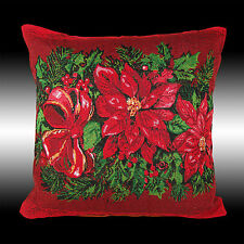 2X RED CHRISTMAS POINSETTAS TAPESTRY DECO CUSHION COVERS THROW PILLOW CASES 17""