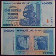 7X ZIMBABWE 100 TRILLION DOLLARS CURRENCY 2008 AA SERIES! (OVER 50 IN STOCK!)