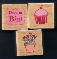 CUPCAKE Dream Big! FLOWERS HEART Gift Tag NEW LOT Hampton Art 2012 RUBBER STAMPS