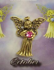 October Guardian Angel Pin Birthstone Antiqued Gold Plated Message Miracles