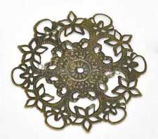 20 Bronze Tone Filigree Flower Wraps Connector Embellishments Findings 55mm