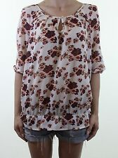 NEXT nude pink ditsy floral pansy print silk feel sheer blouse top size 16 eu 44