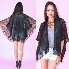 Black Sheer Crochet Lace Scallop Fringe Hippie Boho Festival Kimono Mini Jacket