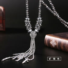 2016 Fashion Women Long Tassel Sweater Chain Crystal Beads Necklace NEW