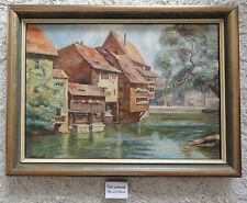 Bild Ölbild Ölgemälde Stadt Nürnberg Insel Schütt signiert W Gehlert Landschaft