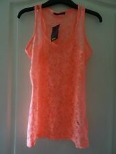 Gorgeous luminous pink lace sleeveless vest top - size S