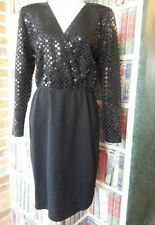 Vtg St John knit Black EVENING Dress Marie Gray Rectangular Paillettes sequins