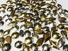 75pcs Misto Metallico Sfaccettato Acrilico Sew on, Stick On GEMS BORCHIE