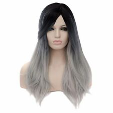 Nature Wigs cap Womens lady long fluffy straight gray hair bang cosplay cos wig