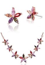 Sparkly Multi Coloured Zircon Chain Necklace Earrings Bridal Gift Jewellery Set