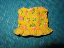 VINTAGE BARBIE FOR SKIPPER YOUNG IDEAS CLOTHES YELLOW FLORAL RUFFLED CROP TOP!