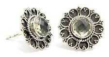 Natural Green Amethyst Stud Earrings Solid 925 Sterling Silver Jewelry IE18075