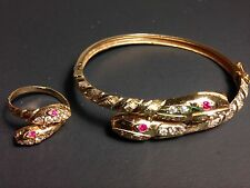 18 K GOLD SNAKE BRACELET AND RING SET