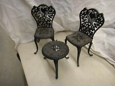 Cast iron patio set for dolls, table & 2 chairs, very very heavy
