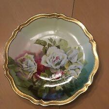 """Antique Vintage Oleg Royal Austria Hand Painted Signed 8.5"""" Rose Plate Gold Trim"""
