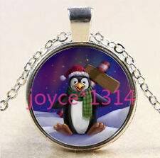 Christmas Penguin Cabochon Tibetan silver Glass Chain Pendant Necklace #2885